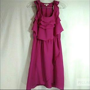 Boston Proper pink fushia ruffle dress. Size 6